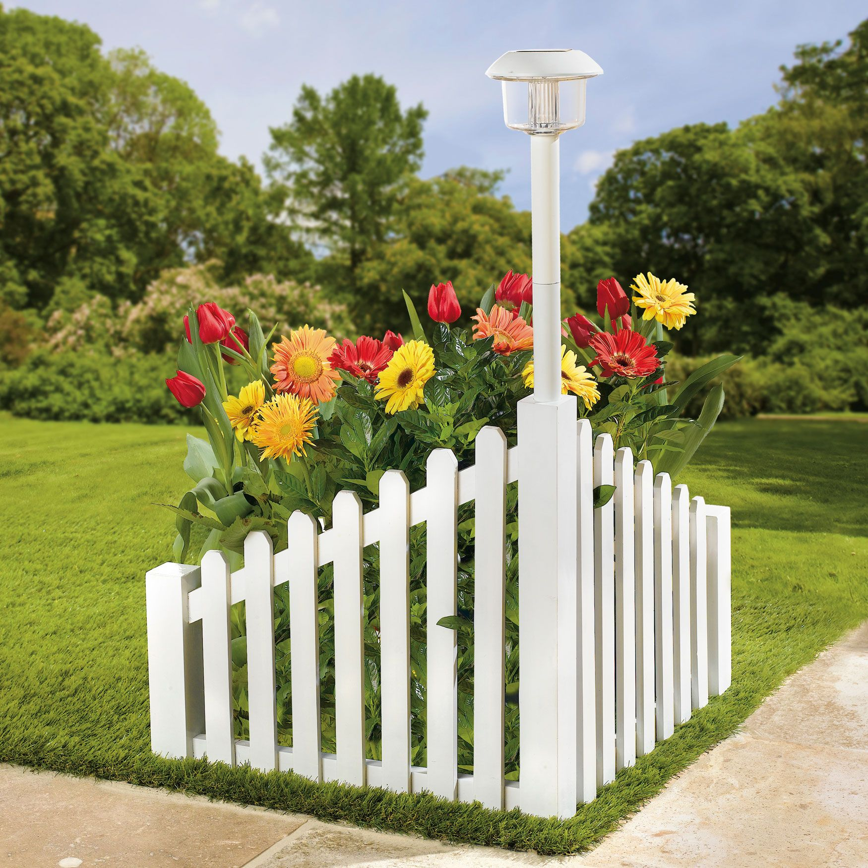 White Wood Corner Fence With Solar Powered Light