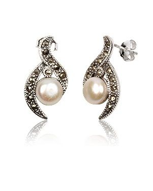 Accessories Of Envy Stunning Sterling Silver Marcasite Pearl Earrings SOwAd
