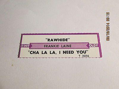 Frankie Laine RAWHIDE jukebox strip for T3016