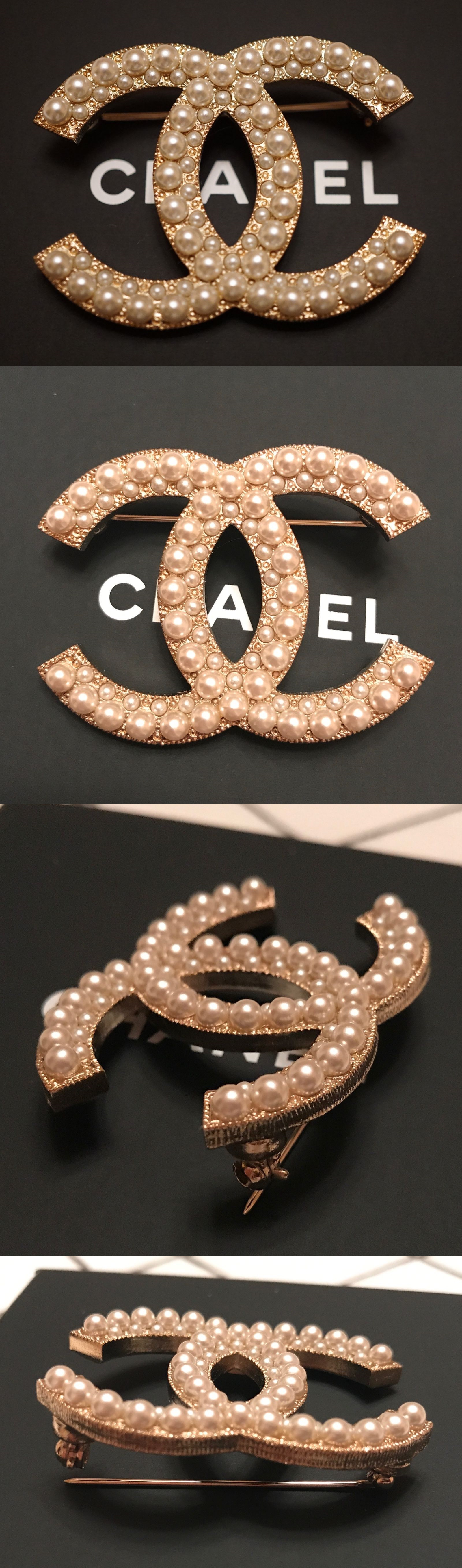 Pins And Brooches 50677: Bnib Authentic Chanel Large White Pearls Gold  Metal Cc Logo Brooch