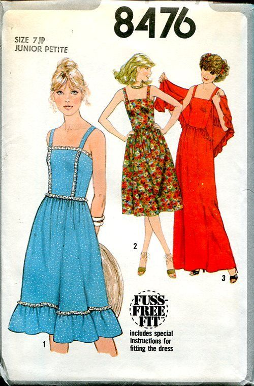 Sewing Patterns,Vintage,Out of Print,Retro,Vogue Simplicity McCall's,Over  7000 - Simplicity 8465 8476 Retro 1970's Summer Dress Evening Length Shawl