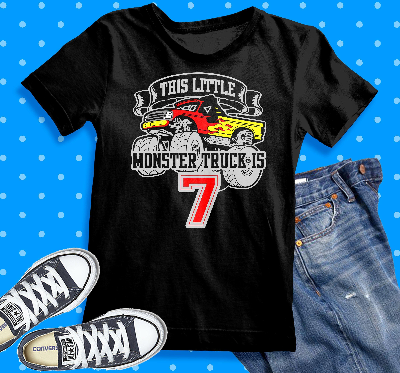 Monster Truck 7th Birthday Shirt This Little Monster Trucks Monster Truck Birthday Shirt Birthday Shirts Birthday Boy Shirts Monster Truck Birthday