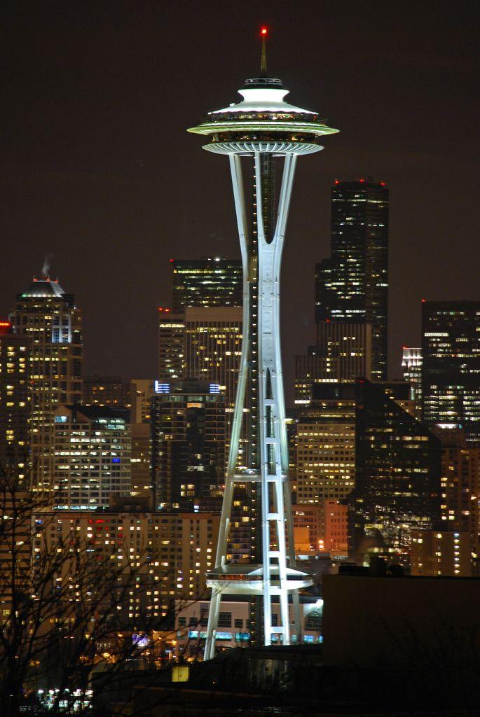 Space Needle At Night Space Needle Space Needle Seattle Seattle