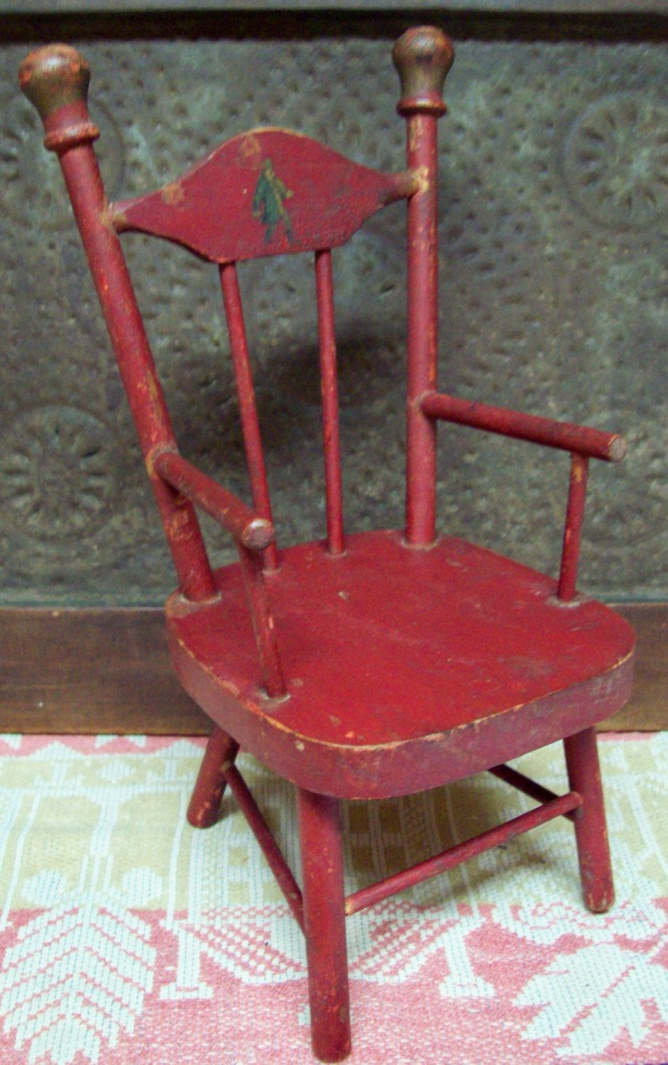 Fantastic Primitive Little Red Doll Chair Collectable Small Original Ncnpc Chair Design For Home Ncnpcorg
