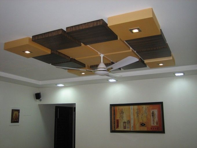 Fancy Cube Wooden Ceiling Designs With Ceiling Fan And Ceiling
