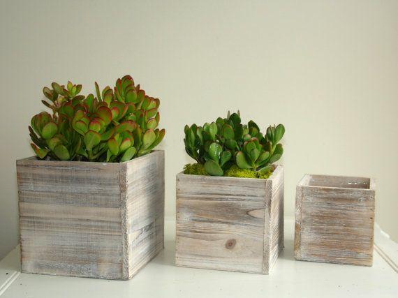 Wood box succulent planter pot vases wooden boxes rustic - Wooden flower pot designs ...