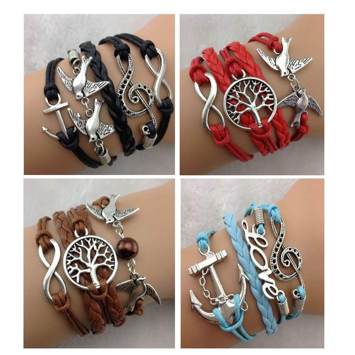 Infinity Bracelet Red Black Blue Brown Love Dove Tree Of