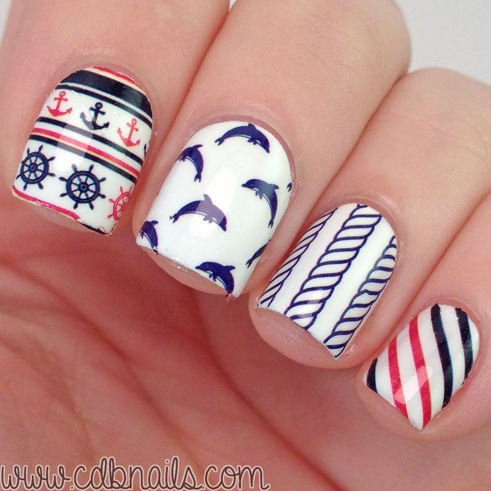 Born Pretty 2 Patterns/Sheet Anchor Stripe Nail Water Decals Sticker ...