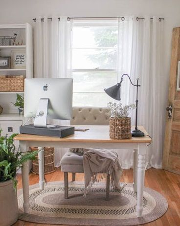 white airy home office. Feminine Home Office Inspiration. Love The Muted Palate. Soft And Airy. White Airy E