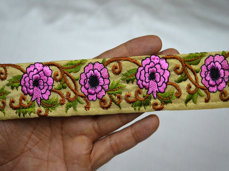 Pink Fabric Embroidered Trim By 2 Yard Indian Laces And Trims