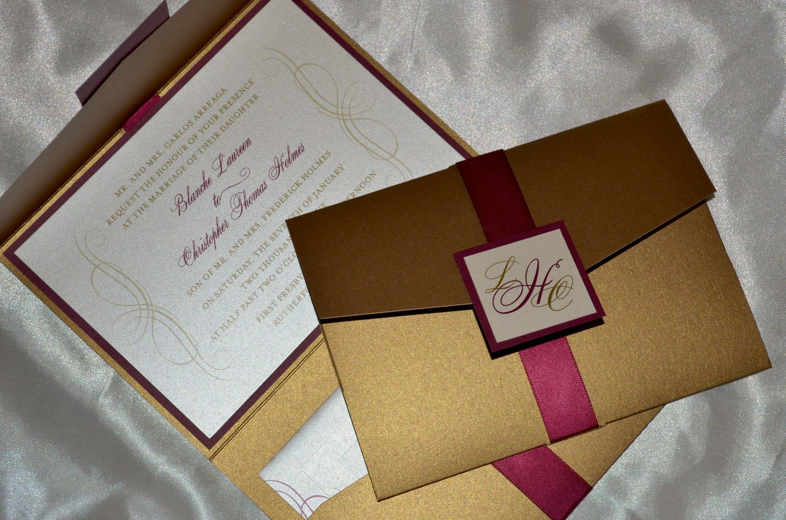 Burgundy And Gold Wedding Invitations: Gold And Burgandy Wedding Invitations