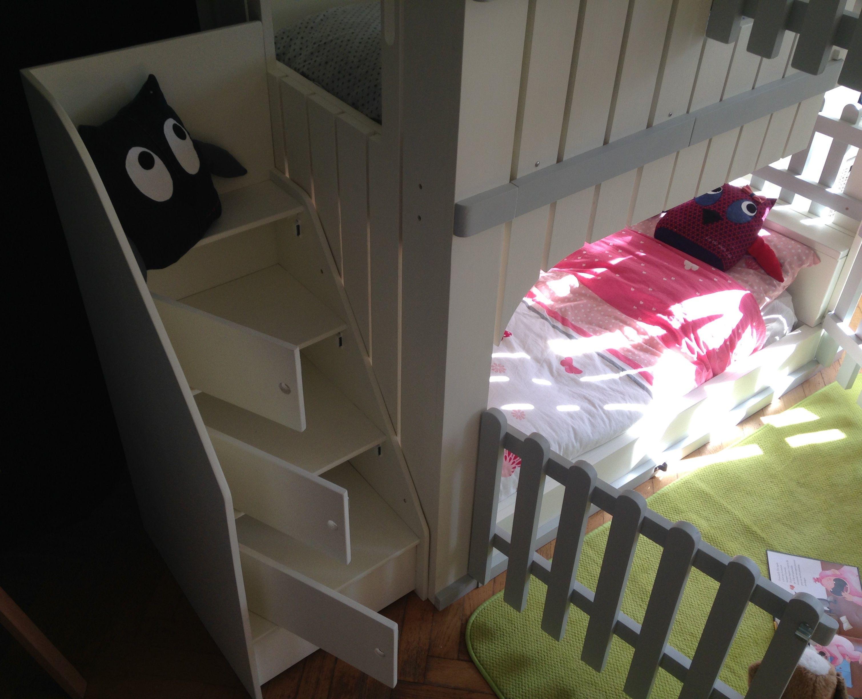 Lit Superposé Marche Escalier escalier et rangement sous marche. | cabane bois enfant