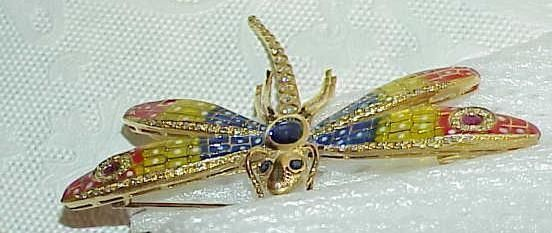 18K Plique a Jour Enamel Dragonfly Colorful .65Ct Diamond Sapphire Ruby Brooch