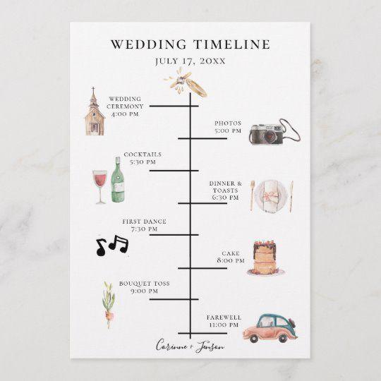 Rustic Watercolor Wedding Timeline Program | Zazzle.com