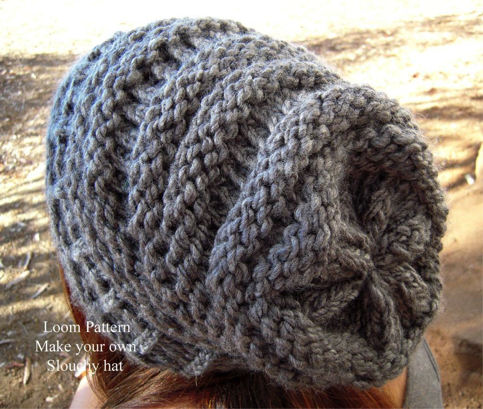 Back View of Grey Slouch Hat - a nice pattern for my knitting loom ...