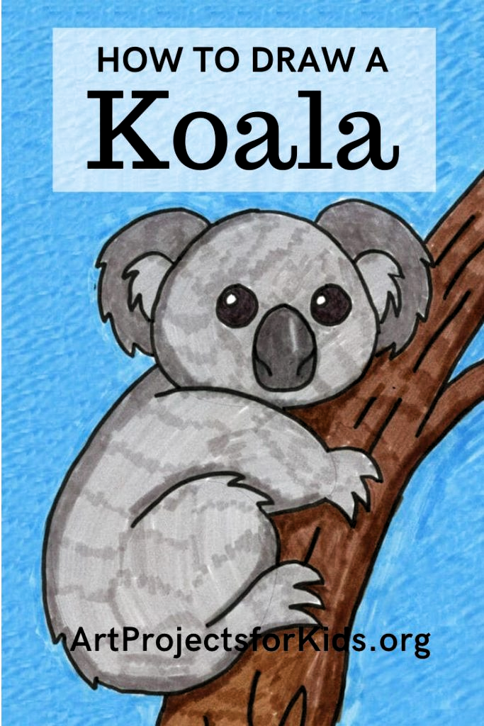 Learn how to draw a Koala with this fun and easy art project for kids. Simple step by step tutorial available. #howtodraw #artprojectsforkids #directdraw #koala