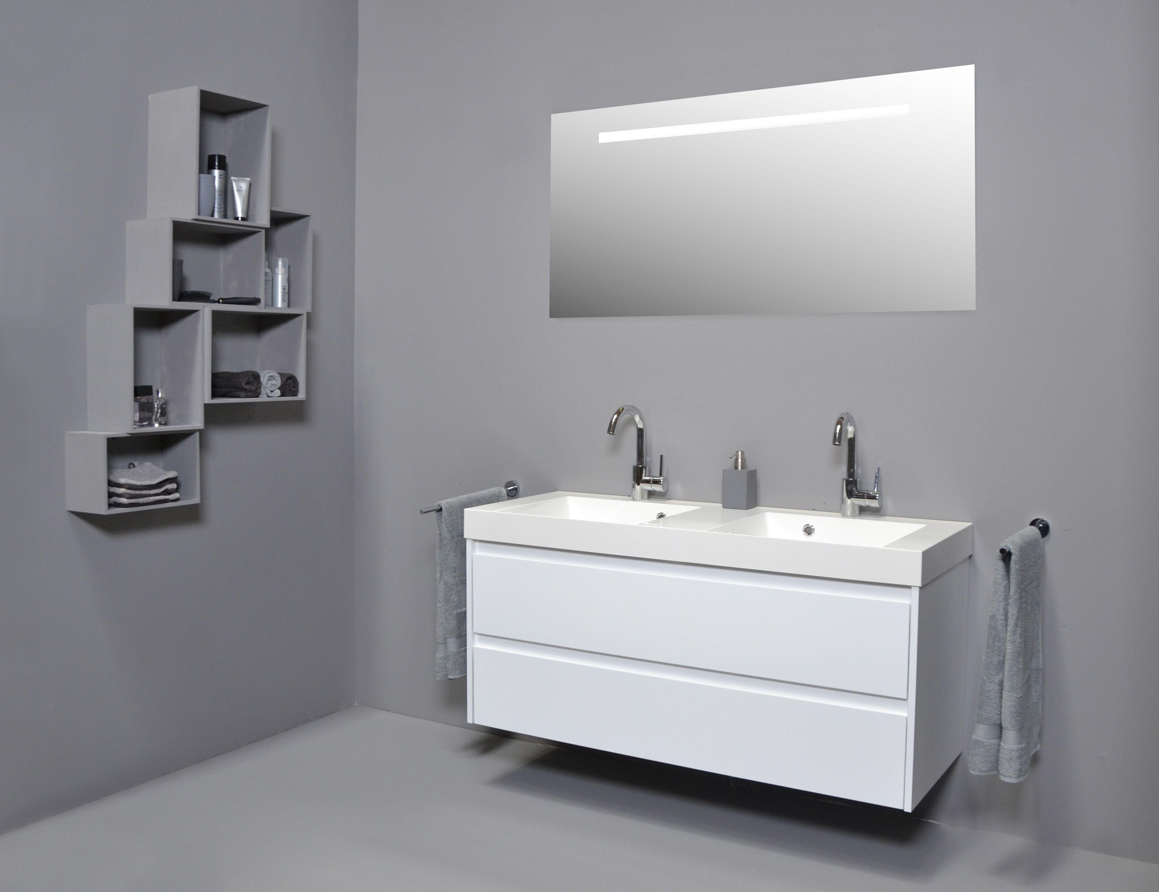 Hoge Spiegelkast Badkamer : Proline kunstmarmer 120 hoogglans wit badkamer wastafel