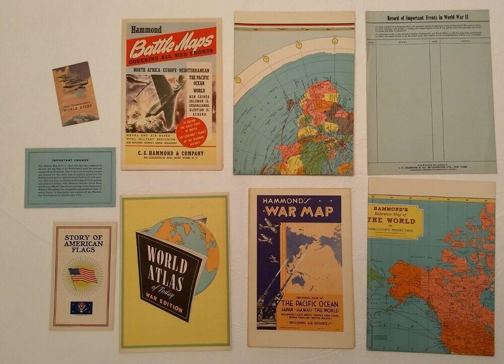 World War II Map Kit Hammond Vintage 1943 Battles Flags