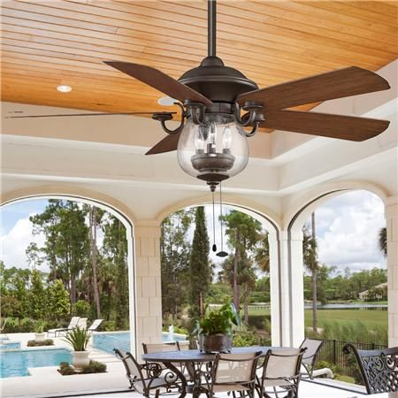 Indoor/ Outdoor Cloche Glass Ceiling Fan - 3-40w bulbs and 22h ...