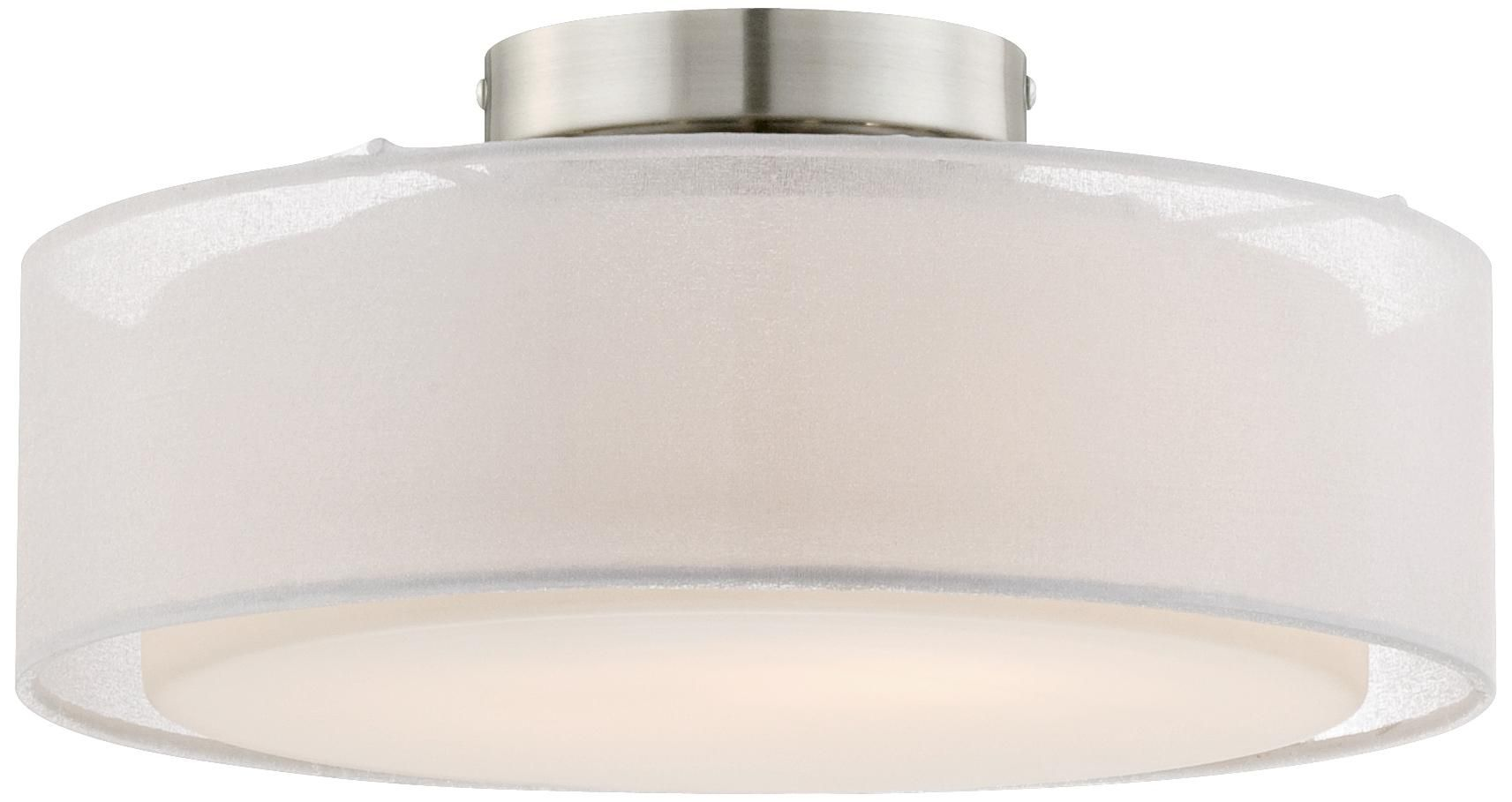 Opal White Dual Shade 12 1 2 Wide Drum Ceiling Light W4588 Lamps Plus Ceiling Lights Drum Ceiling Lights Ceiling Light Fixtures