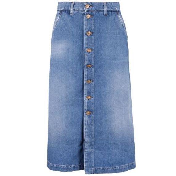 Trend  Jeans-Midi-Rock. Jeansrock LONG SKIRT blau von 7 for all Mankind. b6ee2291a1