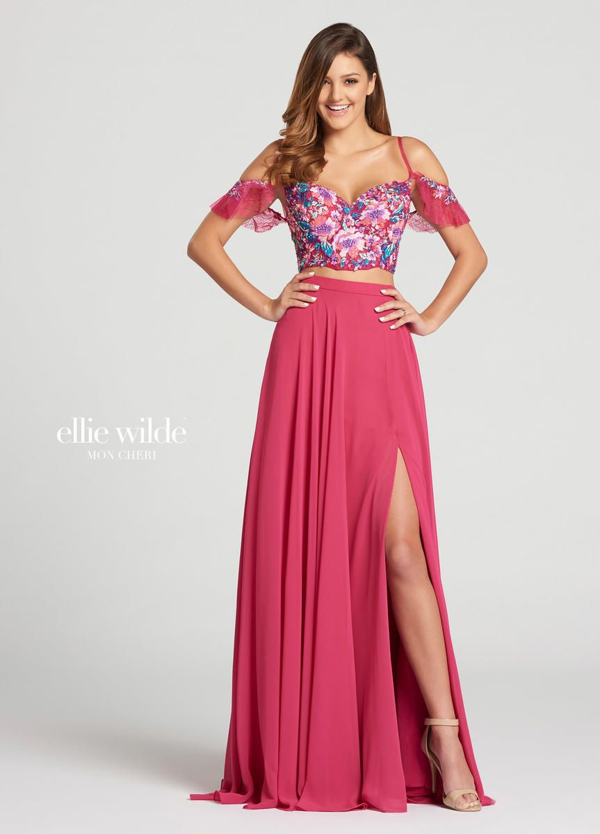 92c50a10628 Style EW118103 from Ellie Wilde for Mon Cheri is a two piece off-shoulder  sweetheart neck prom gown that has a Chiffon skirt with leg slit and a  floral ...
