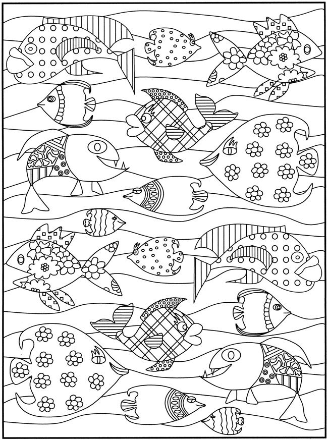 funky fish! Great for patterns and/or value in the waves part | idea ...