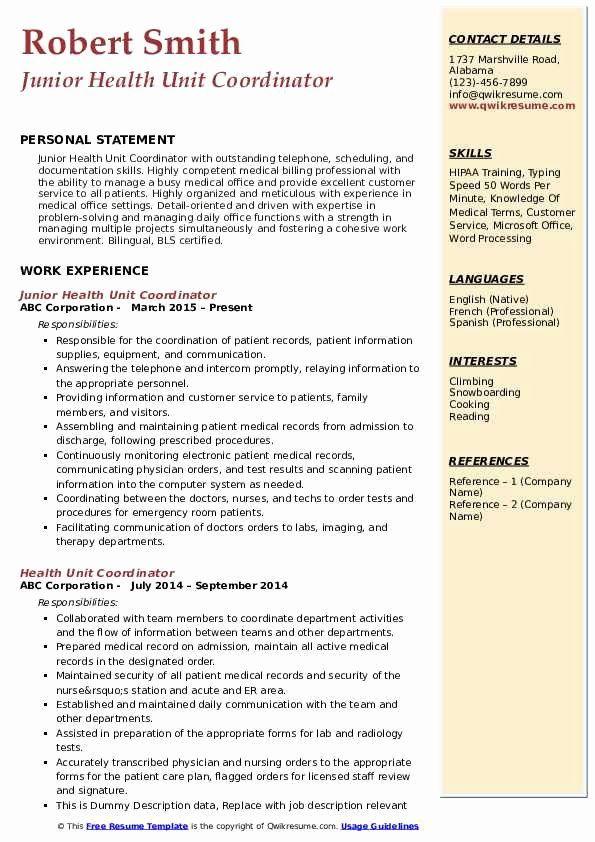 Health Unit Coordinator Job Description Resume ...