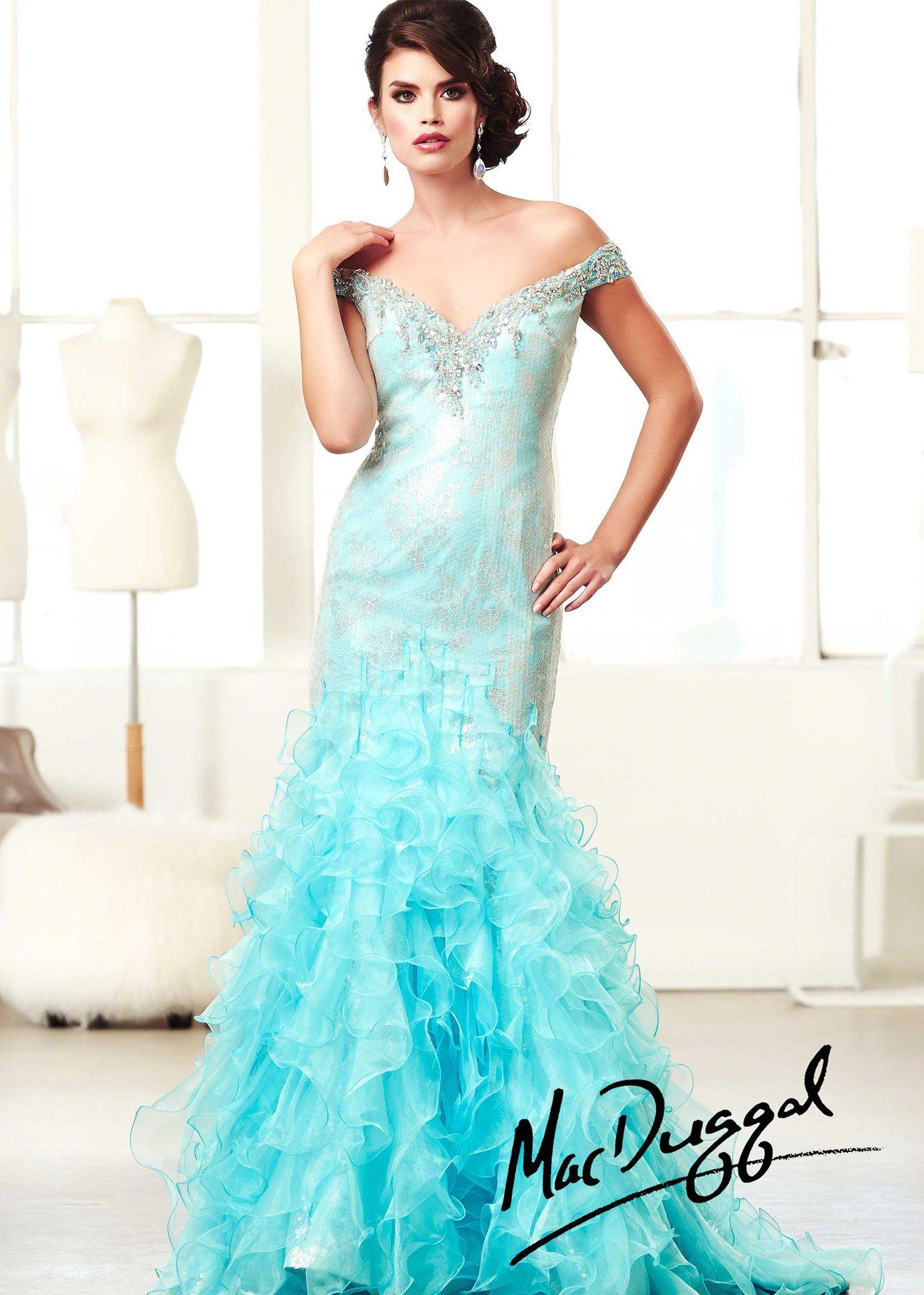 Mac Duggal 64734H - Aqua Sequin Ruffled Mermaid Prom Dresses Online ...