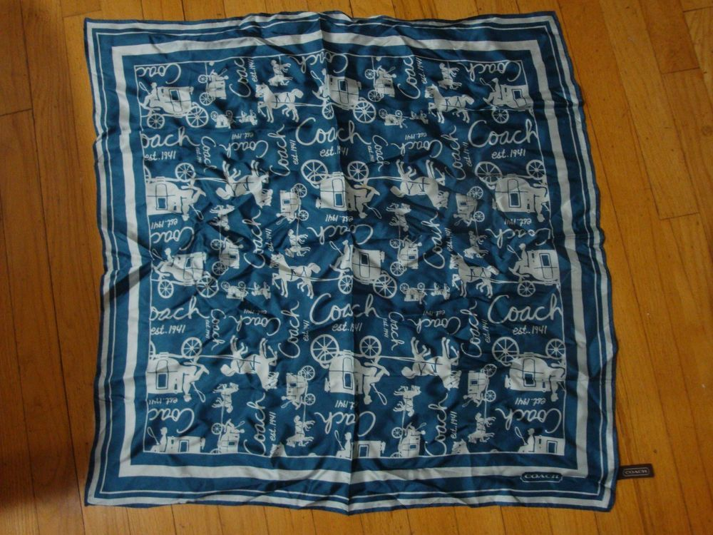 a2c0669676e0c NICE COACH BLUE WHITE CLASSIC HORSE CARRIAGE 1941 SQUARE SILK SCARF  #fashion #clothing #shoes #accessories #womensaccessories #scarveswraps  (ebay link)