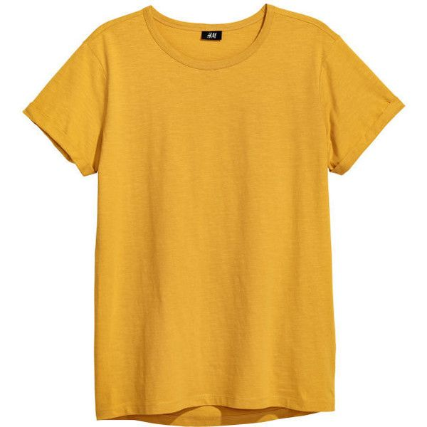 20f30fa2 Slub Jersey T-shirt $12.99 (79 DKK) ❤ liked on Polyvore featuring tops, t- shirts, slub jersey t shirt, mustard top, mustard yellow top, slub jersey  and ...