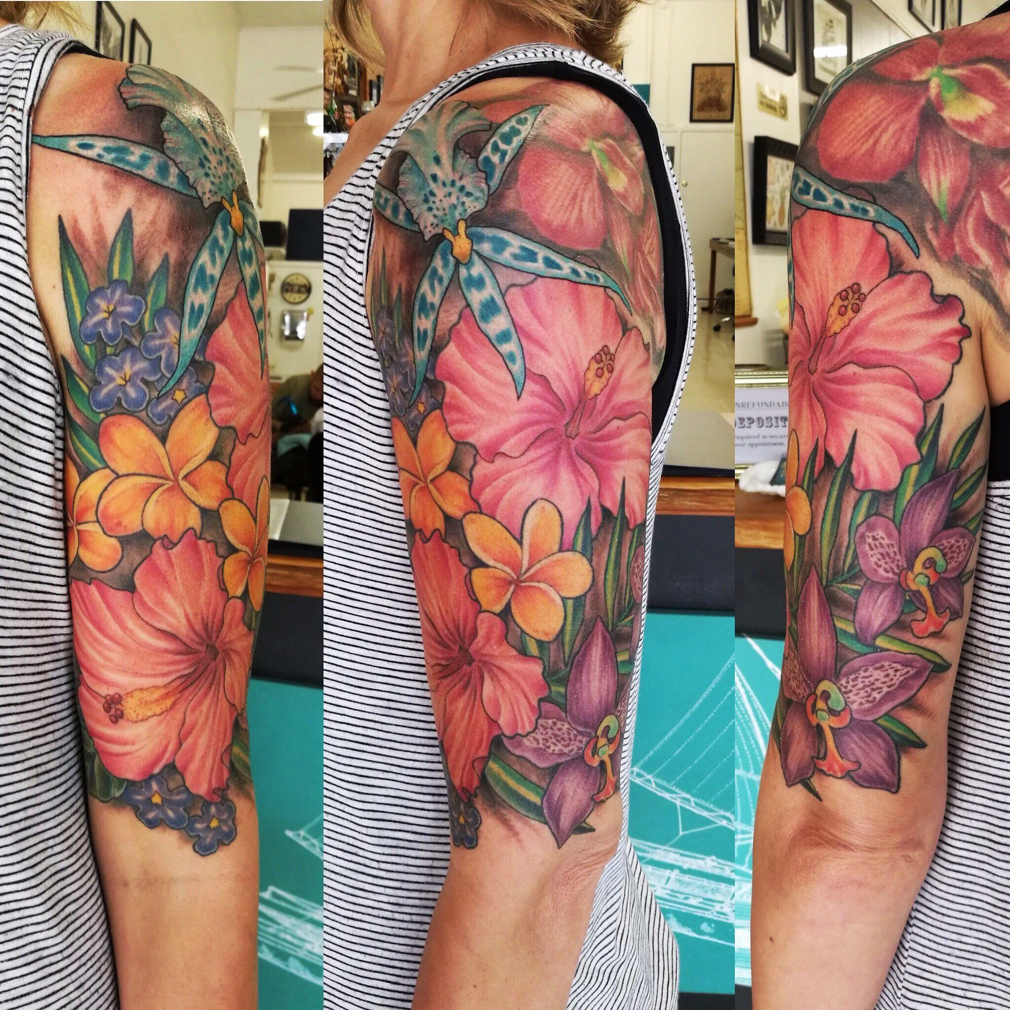Hawaiian flower tattoo sleeve hawaii flower tattoos