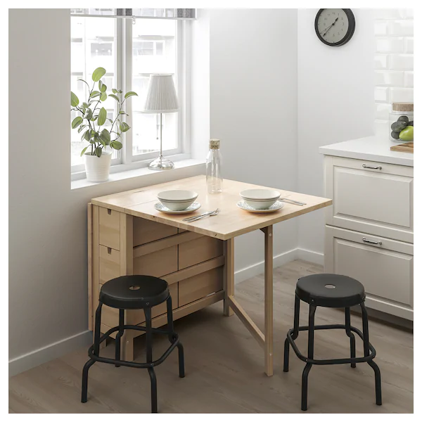 IKEA NORDEN / RASKOG Birch, Black Table and 2 stools