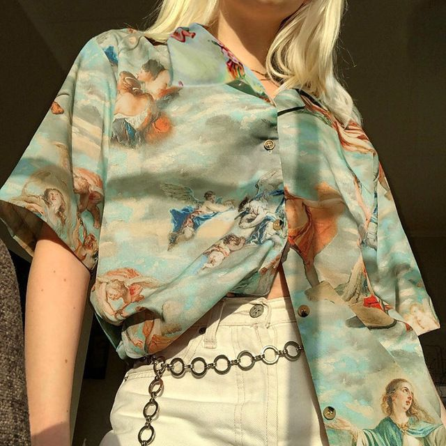 Retro Wind Angel Print Loose Thin Streetwear Summer Tops