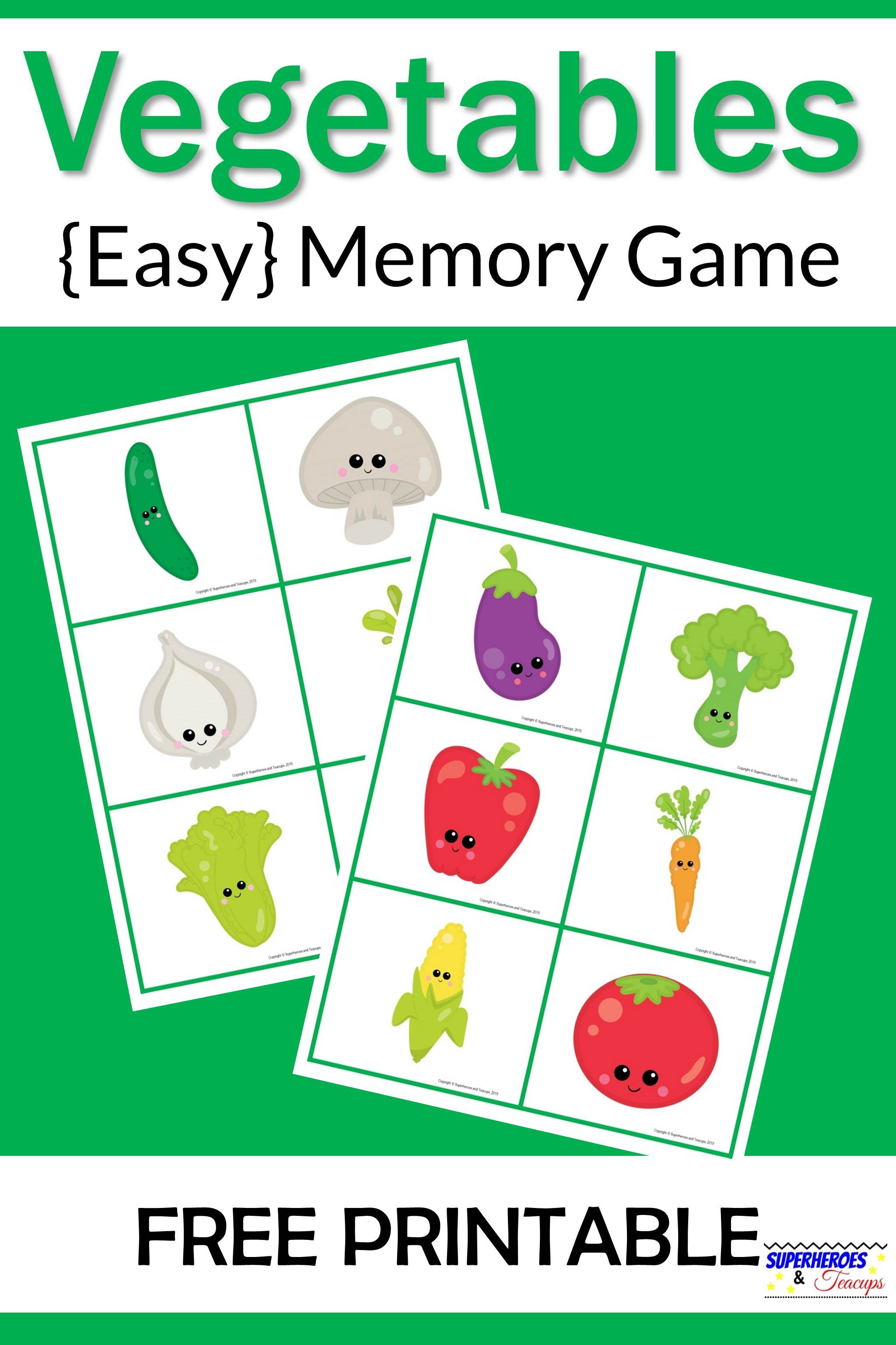 Vegetables Memory Game Free Printable for Kids Matching