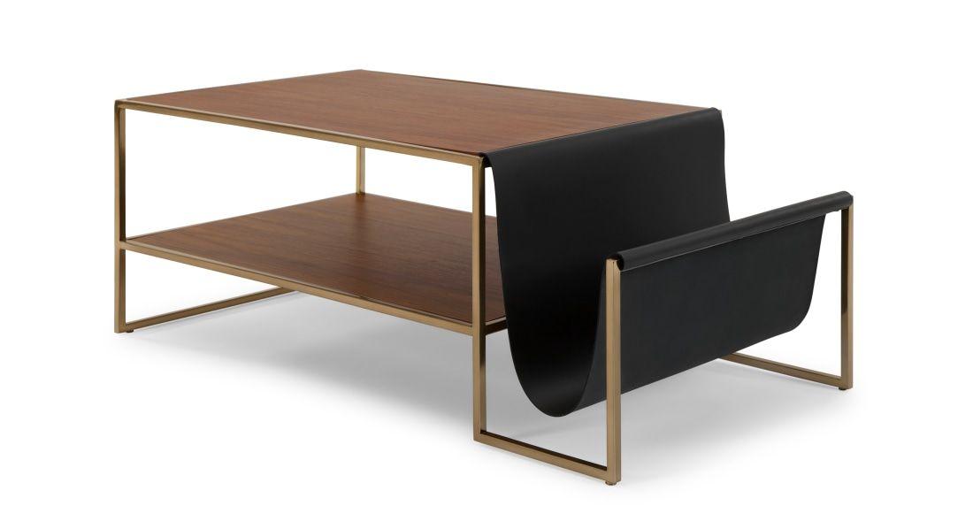 Finn Table Basse Cuir Et Noyer In 2019 Tables Basses