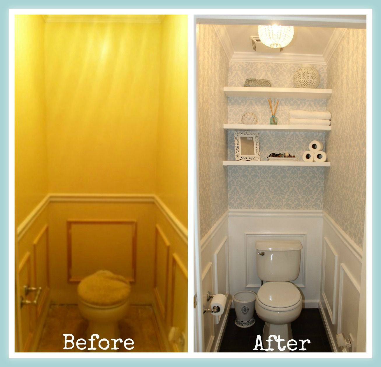 A small bathroom space went from dingy to elegant with a rich damask ...