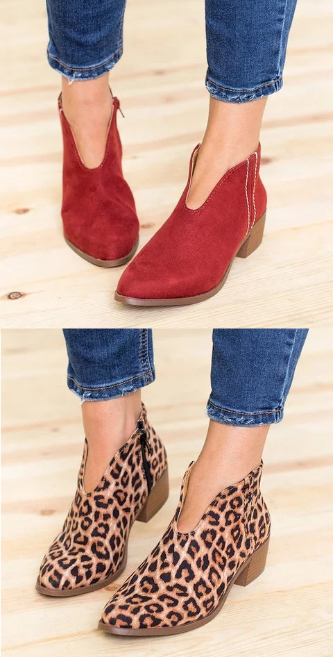 d58158bd5e44  45.32 USD Sale! Free Shipping! Shop Now! Women Deep V Sexy Booties Casual  Comfort Plus Size Zipper Shoes