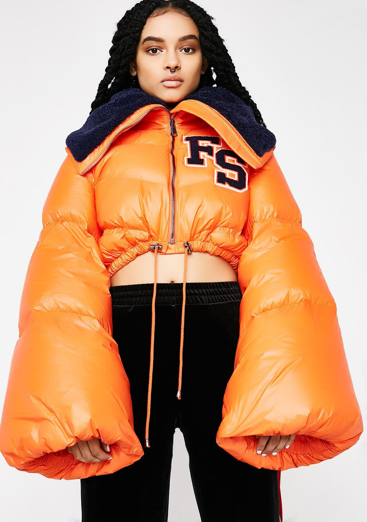 Flame Fenty Puma By Rihanna Funnel Collar Quilted Jacket Quilted Jacket Orange Puffer Jacket Cropped Puffer Jacket [ 2000 x 1405 Pixel ]
