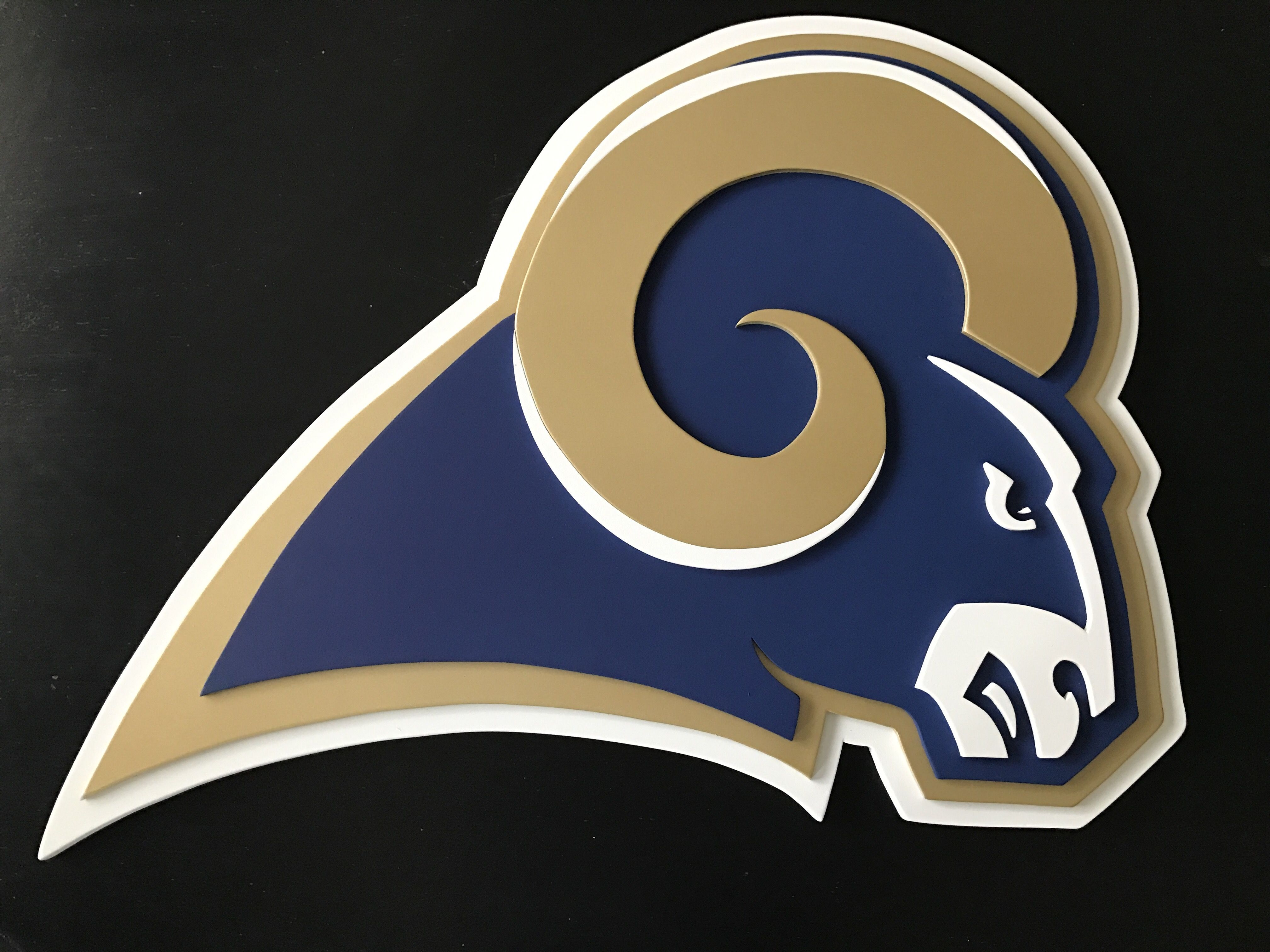 St Louis Rams 3 D Logo Sign Wood Sign Wall Decor Los Angeles Rams Logo Sign Hand Made By Kate Hall Cu Wood Signs Los Angeles Rams Logo Custom Woodworking