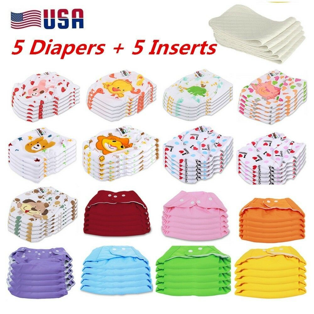 5 Pack Diapers Inserts Adjustable Reusable Baby Washable Cloth Pocket Nappies US