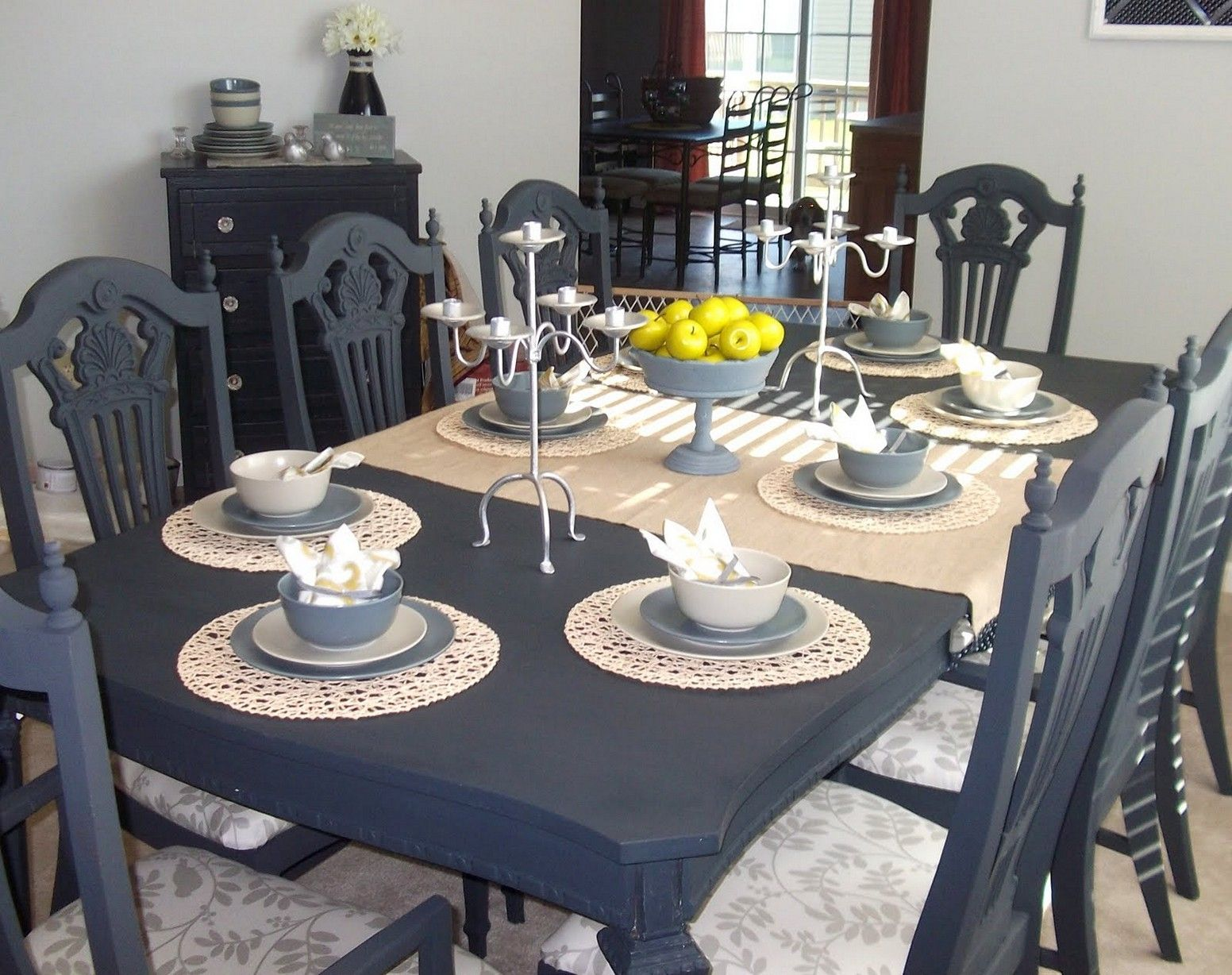 navy dining set for the home chalk paint table painted kitchen tables painted dining room. Black Bedroom Furniture Sets. Home Design Ideas
