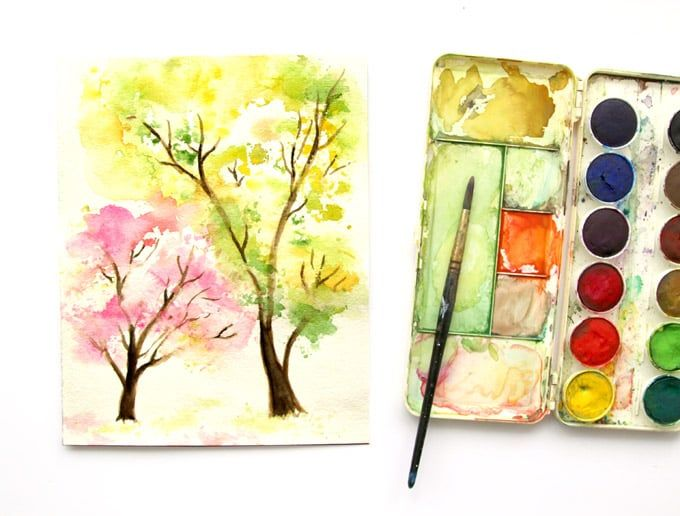 Spring Trees Watercolor Painting With Crumbled Paper Tree