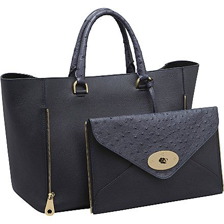 32e766c060 ... real mulberry willow tote in navy classic calf ostrich mix detachable  clutch bag pure genius 7290f