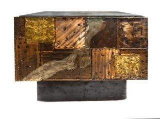 A Paul Evans Copper, Bronze and Pewter Clad End Table Height 23 x width 29 1/2 x depth 29 1/2 inches.