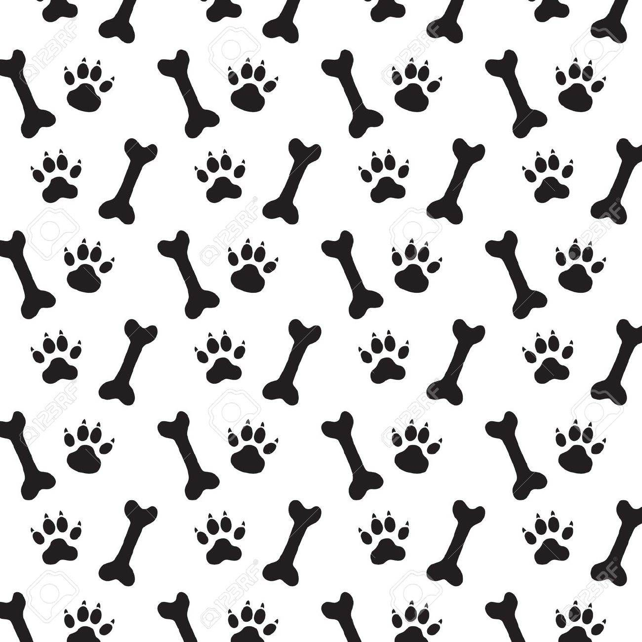 Background Dog Paw Print Bone Vector Stock Vector 1300