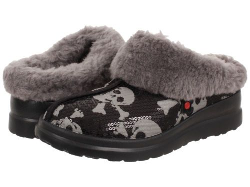 Womens Slippers UGG Dreams Black Sequin Skulls