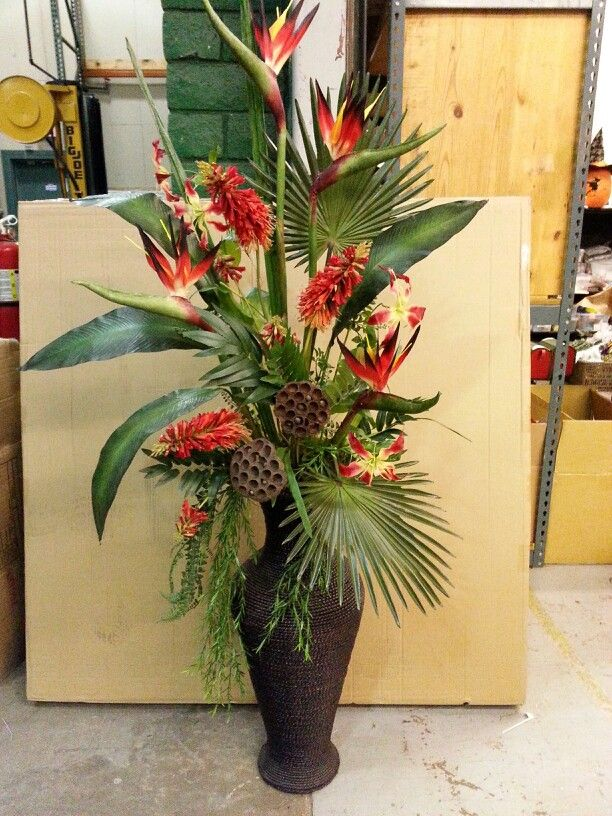 Large Bird Of Paradise Arrangment Tropical Flower Arrangements Large Flower Arrangements Artificial Floral Arrangements