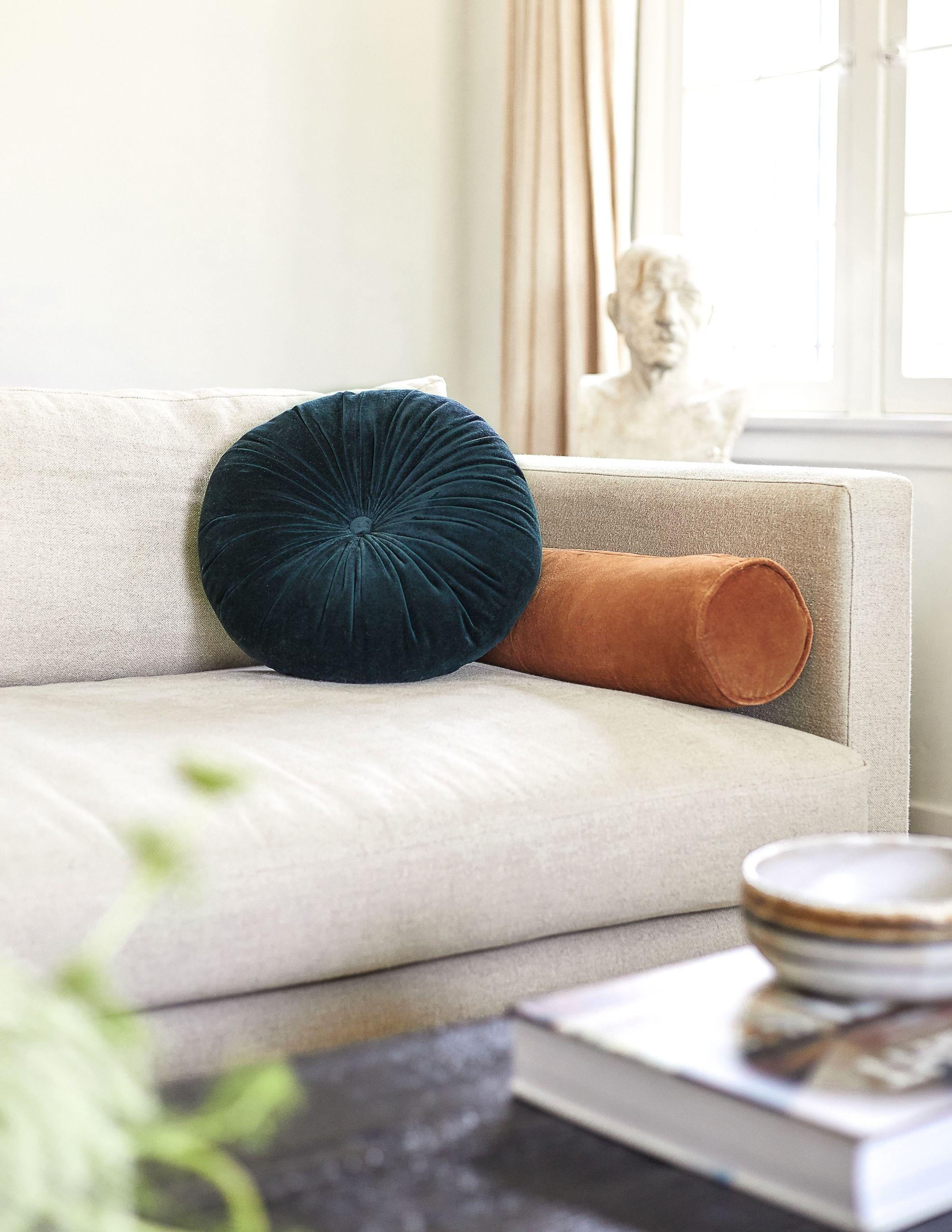 Sabine Velvet Bolster Pillow, Burnt Orange