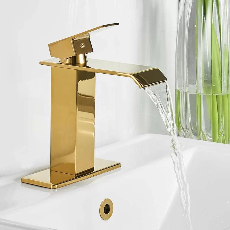 Waterfall Spout Deck Mount Lavatory Single Hole Bathroom Faucet